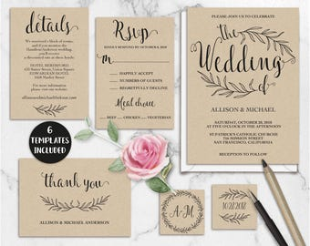 Kraft Wedding Invitation Template Printable, Rustic Invitation Suite Editable, DIY Calligraphy Wedding Template, PDF Instant Download WD211