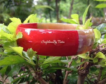 Buffalo HORN bangle BRACELET in Red and Amber Honey. Diameter of 2.55'' [TTC016]