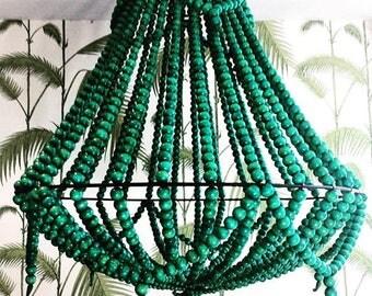 Emerald green Teak Hand Beaded Chandelier