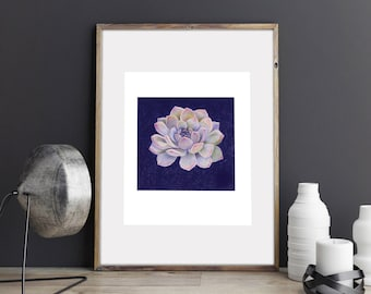 Wall Art Print, Blue Succulent plant, peaceful, water, nature, botanical Illustration Drawing