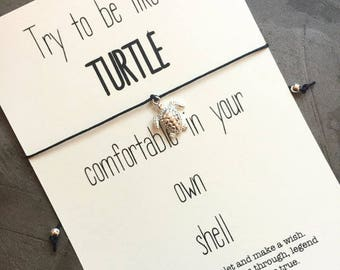 Turtle bracelet, Wish bracelet, Turtle quote, Sea turtle, Turtle gifts, Turtle jewelry, Turtle wish bracelet, Friendship bracelet, A58