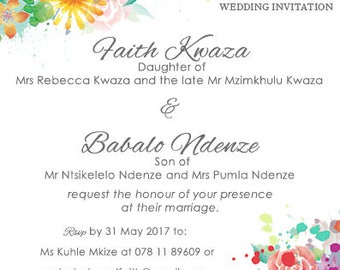 Set of 25 Wedding Invitations, Includes designing