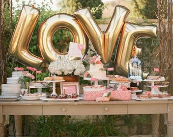 """Beautiful Giant LOVE Balloons 16"""" or 40"""" Gold or Silver, Wedding, Party Decor, Balloon Banner, Photo Shoots"""