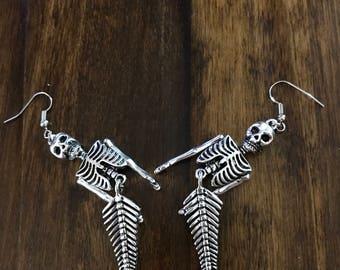 Dead Sea, Skeleton Mermaid Earrings