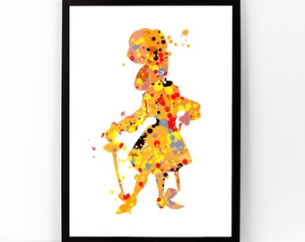 Peter Pan, Captain Hook, Captain hook print, Watercolor Disney, Watercolor Digital, Watercolor Art, M Barrie, Captain Hook Poster,