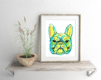 French Bulldog Watercolour Artwork - Giclee Fine Art Print - Frenchie