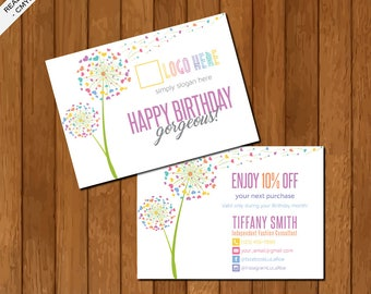 LLR Birthday Card, Post Card, Home Office Approved, Dandelion, Personalized, Independent Fashion Retailer, LuLaRoe Business Card 01