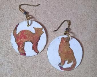 Cat earrings-handmade gold red paper