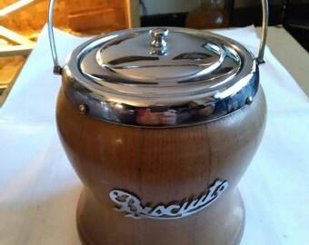 Vintage Wooden With Chrome Top Biscuit Storage Barrel