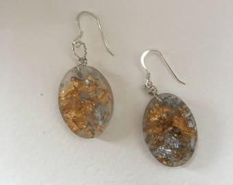 Sterling Silver Gold & Silverleaf Resin Earrings