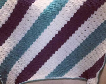 Striped Corner to Corner Crochet Blanket