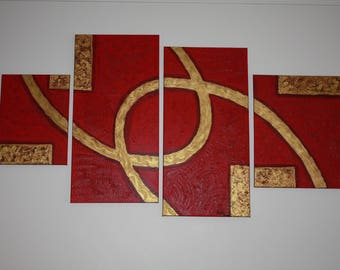 Abstract Painting Red and gold