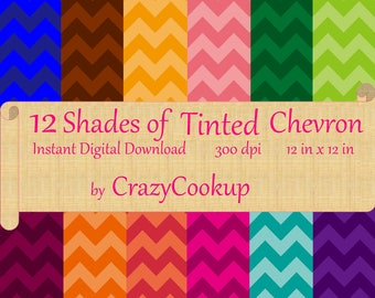 Tinted Chevron Pattern - Set of 12 shades (Digital download) 300 dpi 12in x 12in