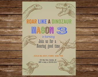 Dinosaur Birthday Invitation. Boys Birthday Invitation. Dinosaur Theme.  Dinosaur Party Invitation. Dinosaur Party Invite. Any Age.jpg 17