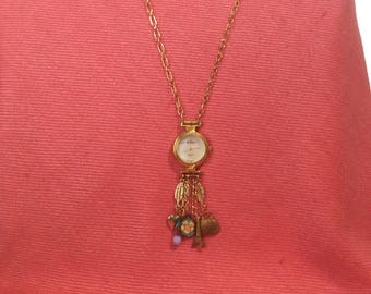 Gold Charm assemblage watch necklace