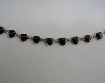 Heart Necklace, Black Heart Necklace, Vintage Necklace, Vintage Gold and Enamel Necklace, Vintage Gold and Black Enamel Necklace