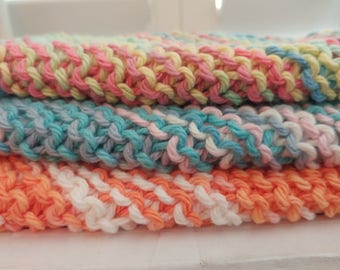 Knit washcloths: Set of 3