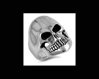 Sterling Silver Grinning Skull Ring with Ring Face Height of 27MM