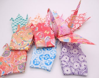 Ready to ship!100 6'' Multicolored large Origami paper crane,Make a wish,Washi Chiyogami,Cute Origami crane,wedding,party,Decoration,Card