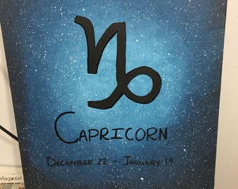 Capricorn Zodiac Space Painting