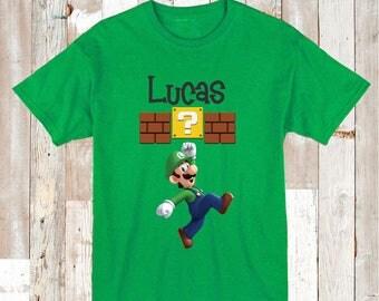 Luigi Tee Tees T-shirt For Kids Video Game Custom Mario Bros T-Shirt Luigi Tees Personalized Tees Boys Nintendo Onesies and Shirts, aa31