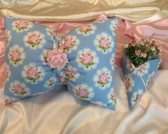 Cute Embellished Bow Pillow and Coordinated  Wall  Vase