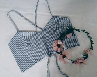 Feelin' Grey Bralet - Grey Pinstripe