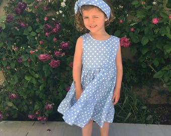 Dress light blue kitten dots + headband