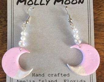 Molly Moon pink dangle earrings