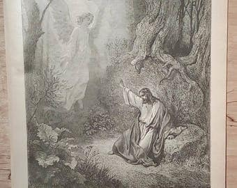 Christ in the Garden - Vintage Bible Lithograph Print