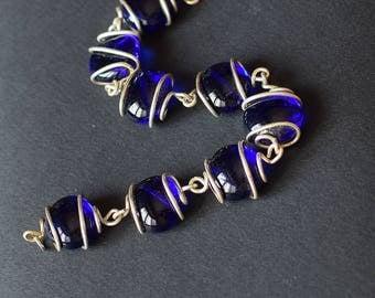 Blue Glass Stones Bracelet