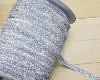 "1 - 20 yards 3/8"" 10mm Silver Sparkle Glitter Velvet Ribbon Craft supplies"