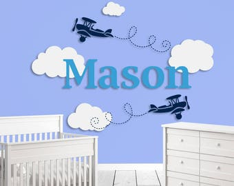 Airplane Decal, Personalized Name Sticker, Airplane With Clouds Wall Decal, Nursery Decals, Boys Room Decals, Aircraft Sticker, Airplanes