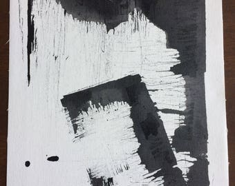 """Black and white abstract ink painting """"Untitled Geometric 2"""""""