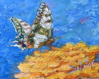 MINI oil painting Original hand painted wall home decor European swallowtail butterfly artwork blue modern fine art summer by Aleks Salatov