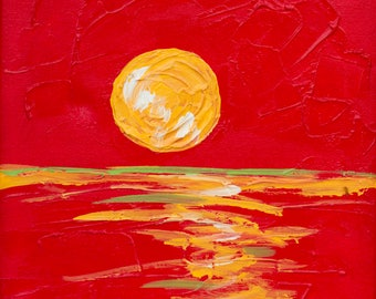 Red Sunset-PRINT of Acrylic on Canvas Painting by Homer Paul Duke-12x12