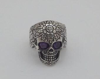 Sterling Silver Biker Ring Solid 925 Skull Design New Empress