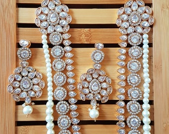 Gorgeous Indian white crystal polki bridal party wear necklace with mangtikka and earrings set