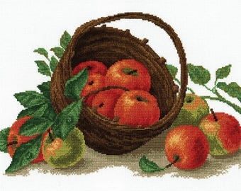 Cross-stitch still-life with apples