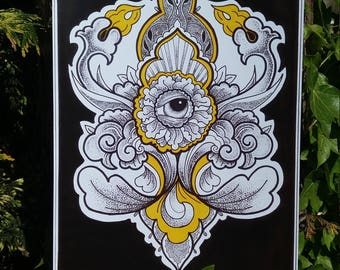 Dotwork Floral A4 Print
