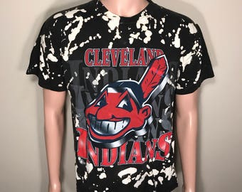Custom Vintage Cleveland Indians shirt // faded distressed // acid washed tee // big chief wahoo logo // 90s rad cool shirt // Adult medium