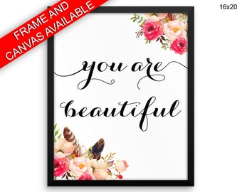 You Are Beautiful Printed  Poster You Are Beautiful Framed You Are Beautiful Typography Art You Are Beautiful Typography Print You Are