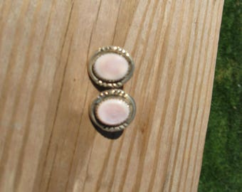 Vintage sterling silver pink stone earrings