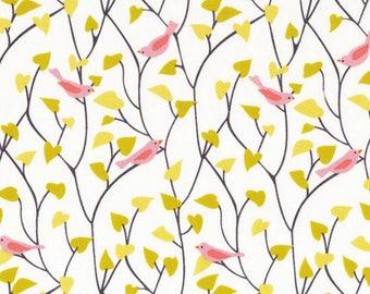 Pink Bird Tweetly Tweet Fabric Organic Cotton - Cloud 9 Fabrics - House and Garden - Bird Print Fabric