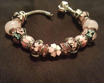 Bracelet  Pink and Black Hearts n Flowers
