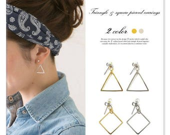 Minimalist Triangle and Cubic Earrings