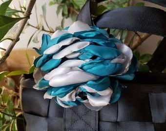 Satin flower rosette for Harveys seatbelt bag