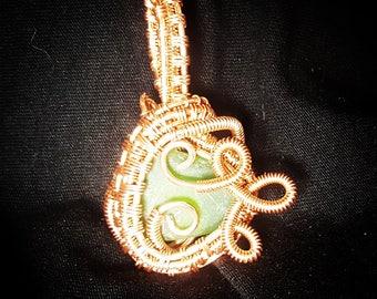 Green sea glass copper wire wrapped pendant