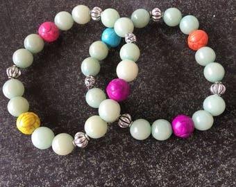 German jade colorful beaded bracelet