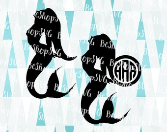 Mermaid SVG, Mermaid Monogram frame SVG, Mermaid Life SVG, Mermaid Vector, Mermaid Silhouette, Instant download, Eps - Dxf - Png - Svg